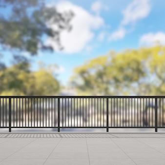 Balcón y terraza de desenfoque de fondo de la naturaleza