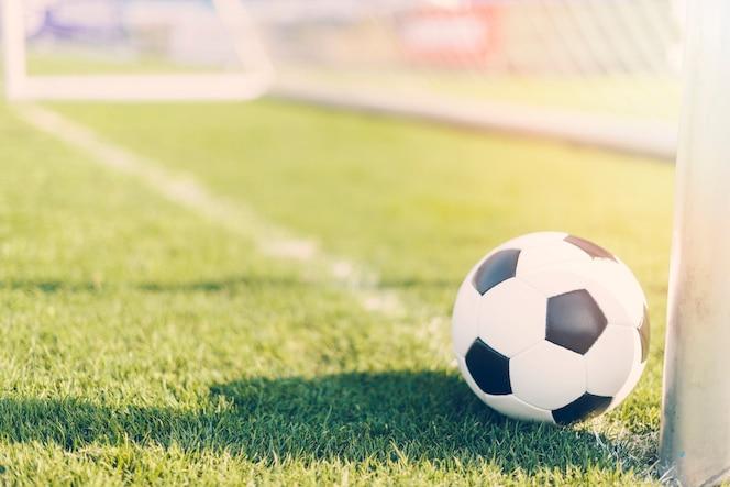 Balón de fútbol cerca de la portería profesional