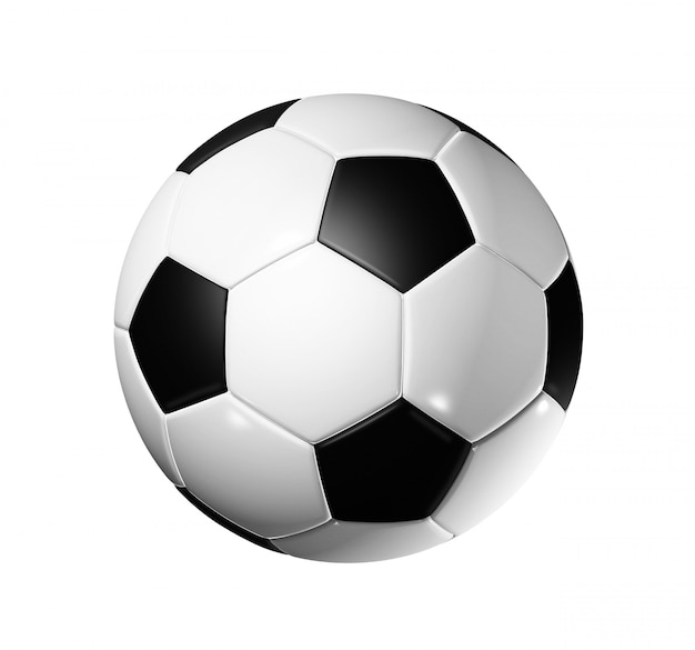 Balón de fútbol 3d aislado en blanco con trazado de recorte