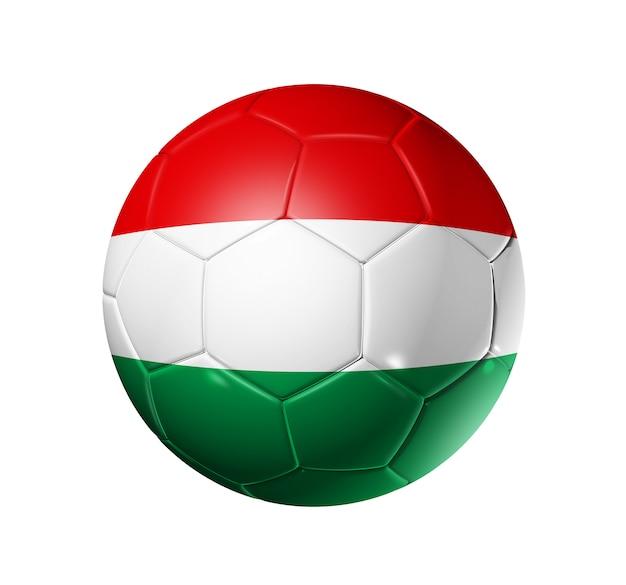 Balón de fútbol 3d con bandera del equipo de hungría.