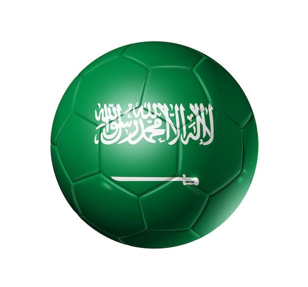 Balón de fútbol con la bandera de arabia saudita
