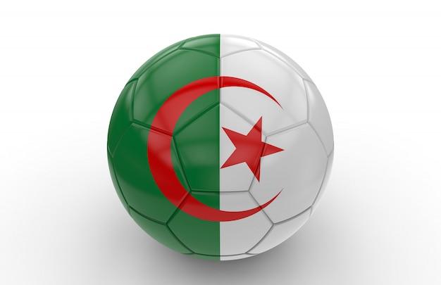 Balón de fútbol con la bandera de argelia