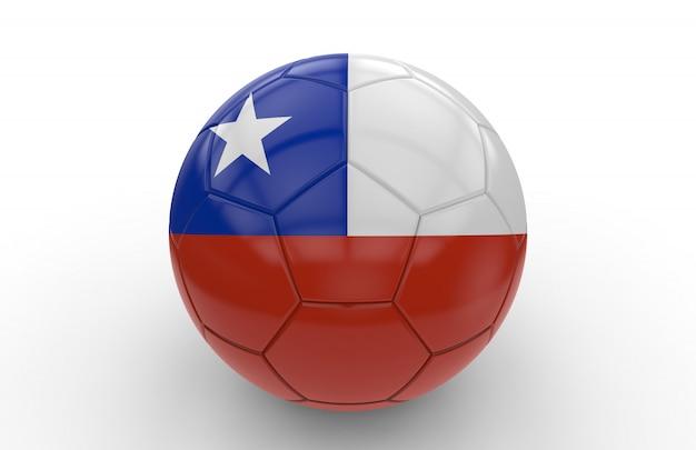 Balón de fútbol con la bandera de chile; representación 3d