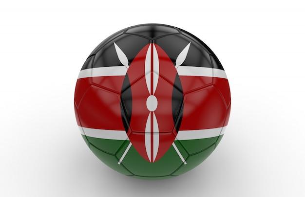 Balón de fútbol con la bandera de kenia