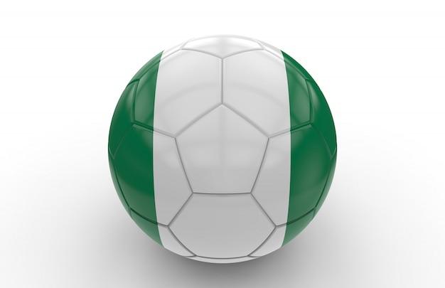 Balón de fútbol con la bandera de nigeria