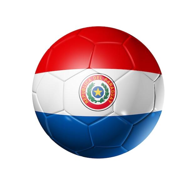 Balón de fútbol con la bandera de paraguay