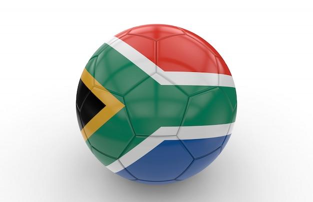 Balón de fútbol con la bandera de sudáfrica