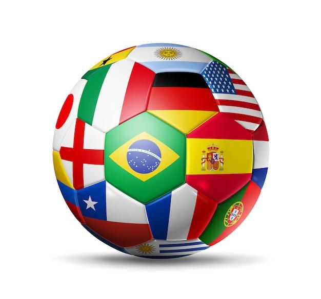 Balón de fútbol con banderas de equipos mundiales