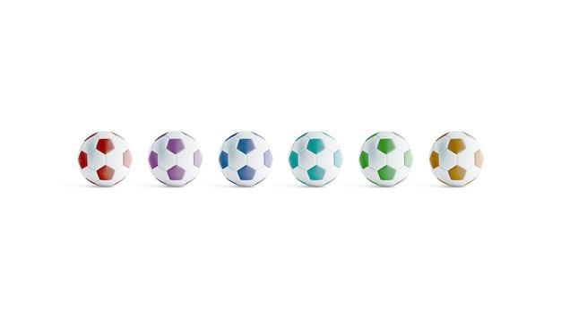 Balón de fútbol de color en blanco