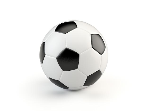 Balón de fútbol de estilo vintage en blanco y negro aislado