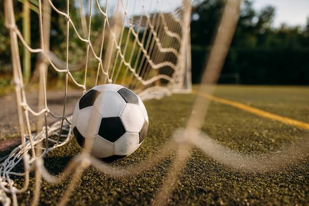 Balón de fútbol en la red de la puerta