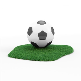 Balón de fútbol sobre hierba verde