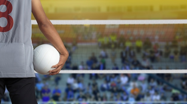 Balón de voleibol en la bandera de los estados unidos