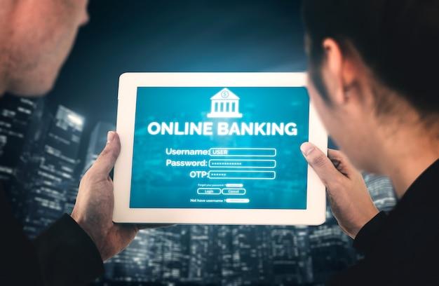 Banca en línea para el concepto de tecnología de dinero digital. interfaz gráfica que muestra la transferencia de dinero en el sitio web de internet y el servicio de pago digital.
