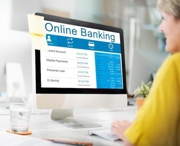 Banca en línea finanzas banca concepto de banca electrónica