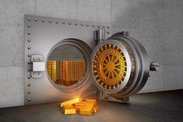 Banco abierto de caja fuerte blindada y barras de oro. render 3d