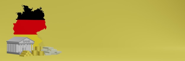 El banco con monedas de oro en alemania para redes sociales, televisión y portadas de fondos de sitios web se puede utilizar para mostrar datos o infografías en 3d.
