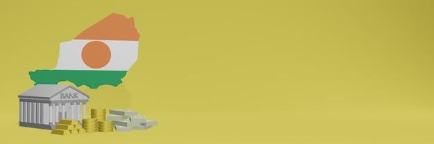 El banco con monedas de oro en níger para redes sociales, televisión y portadas de fondos de sitios web se puede utilizar para mostrar datos o infografías en 3d.