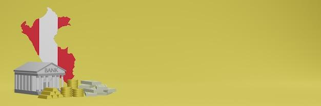El banco con monedas de oro en perú para redes sociales, televisión y portadas de fondos de sitios web se puede utilizar para mostrar datos o infografías en 3d.