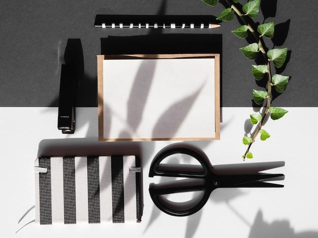 Banco de trabajo organizado sobre un fondo blanco y negro con una rama de hoja