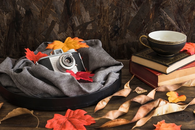 Bandeja con cámara y hojas cerca de libros y taza