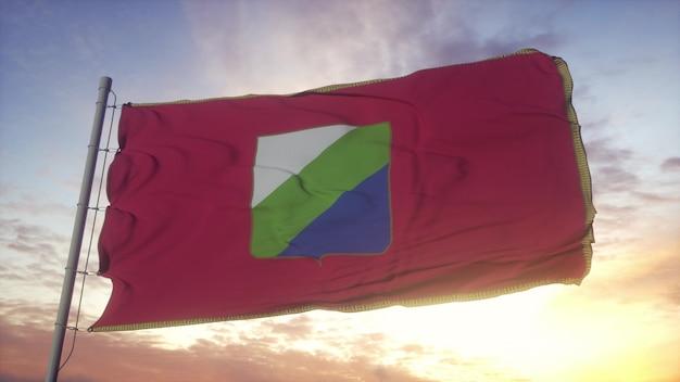 Bandera de abruzzo, italia, ondeando en el fondo del viento, el cielo y el sol. representación 3d.