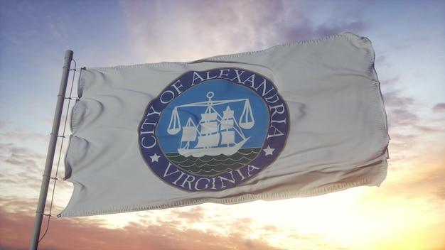 Bandera de alejandría, virginia, ondeando en el fondo del viento, el cielo y el sol. representación 3d.