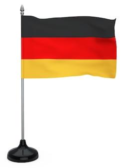 Bandera de alemania colgando del asta de la bandera sobre un fondo blanco.