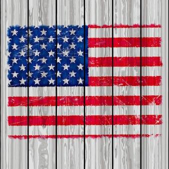 Bandera de américa estilo grunge en un fondo de textura de madera