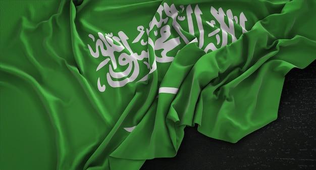 Bandera de arabia saudita arrugado sobre fondo oscuro 3d render