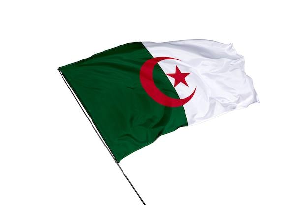 Bandera de argelia sobre un fondo blanco.