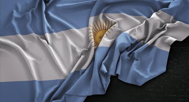 Bandera de argentina arrugado sobre fondo oscuro 3d render