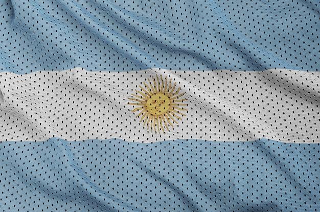 Bandera argentina impresa en una tela de malla de nylon y poliéster
