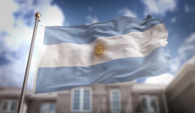 Bandera de la argentina representación 3d en el fondo del edificio de cielo azul