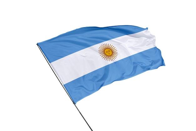 Bandera argentina sobre un fondo blanco.