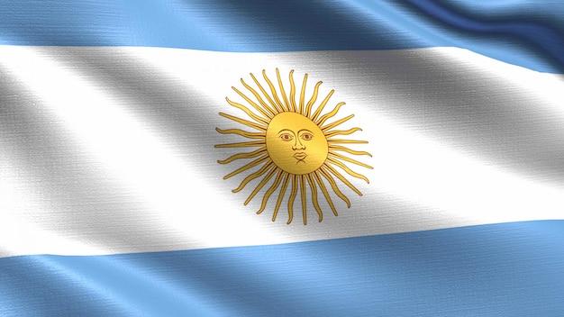 Bandera argentina, con textura de tejido ondulado.