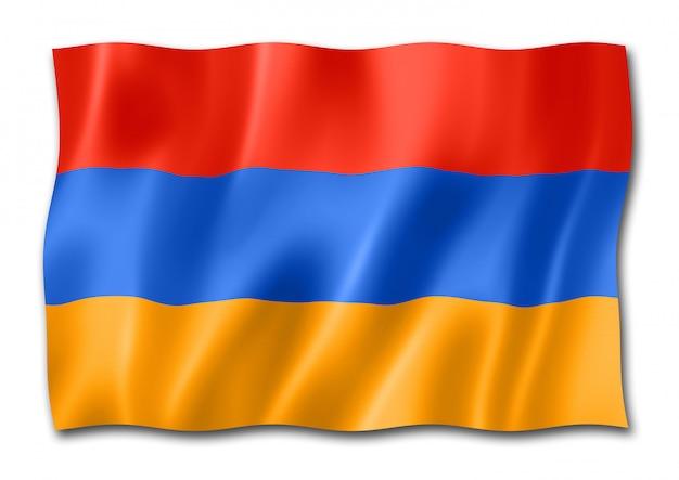 Bandera armenia aislada en blanco