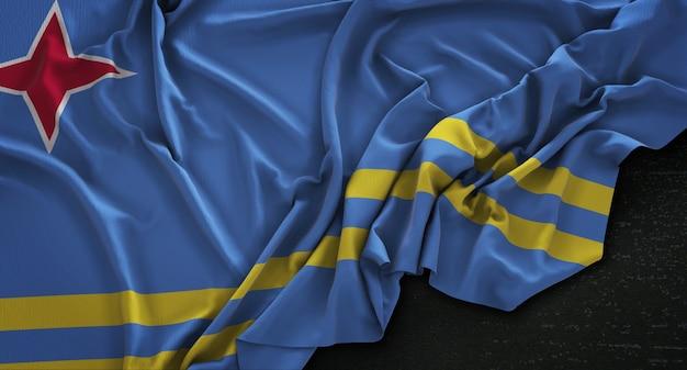 Bandera de aruba arrugado sobre fondo oscuro 3d render