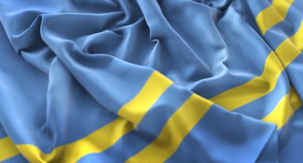 Bandera de aruba ruffled maravilloso agarrar macro horizontal primer plano
