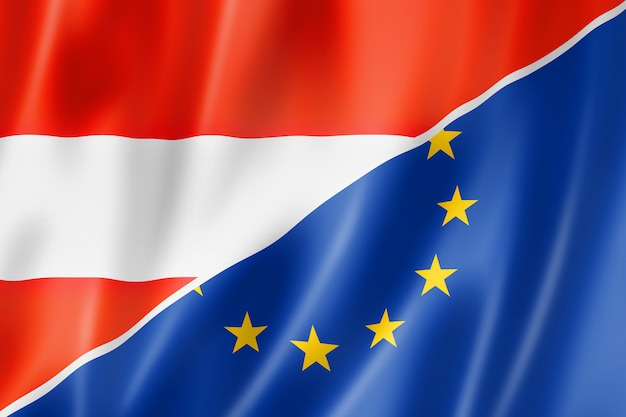 Bandera de austria y europa
