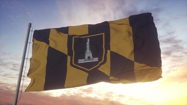 Bandera de baltimore, ciudad de maryland ondeando en el fondo del viento, el cielo y el sol. representación 3d.