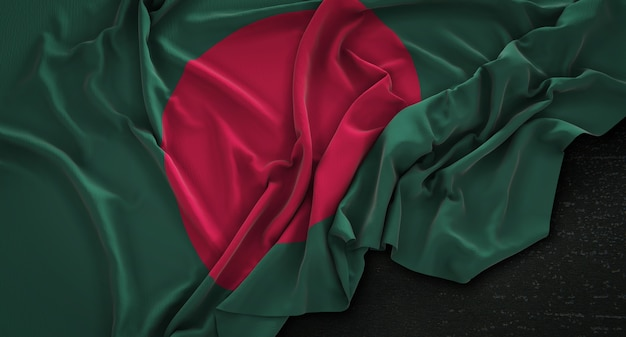Bandera de bangladesh arrugado sobre fondo oscuro 3d render
