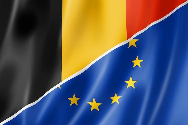 Bandera de bélgica y europa