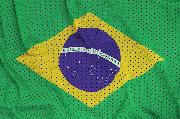 Bandera de brasil impresa en un tejido de malla de nylon y poliéster