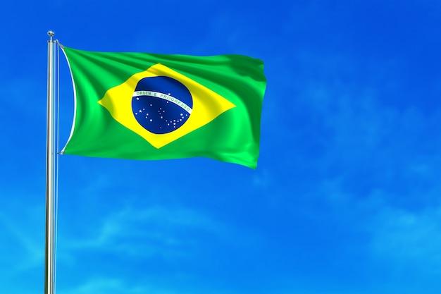 Bandera de brasil en la representación 3d del fondo del cielo azul