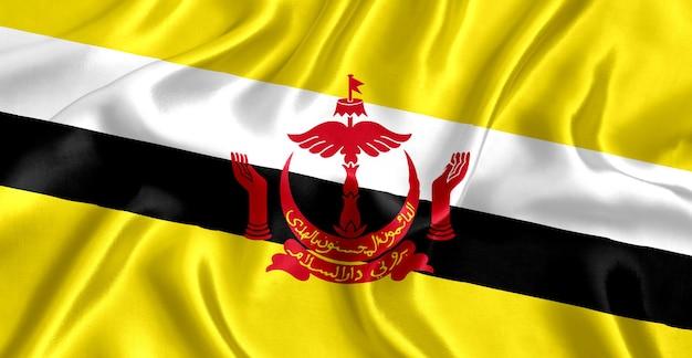 Bandera de brunei fondo de primer plano de seda