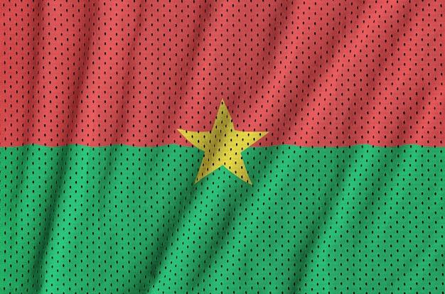 Bandera de burkina faso impresa en una malla de poliéster y nylon