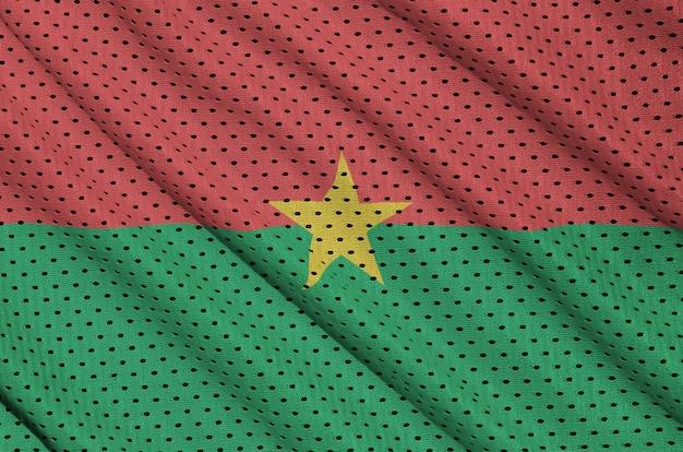 Bandera de burkina faso impresa en una tela de malla de poliéster deportiva de nylon