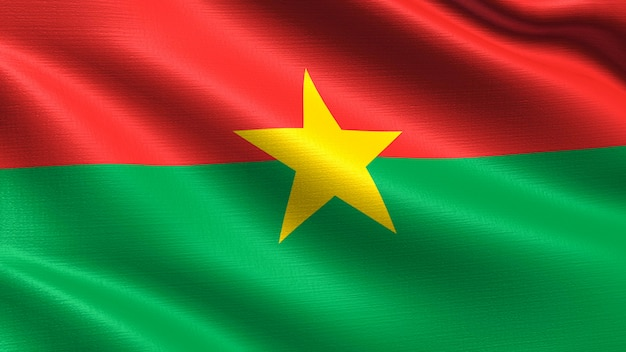 Bandera de burkina faso, con textura de tejido ondulado.