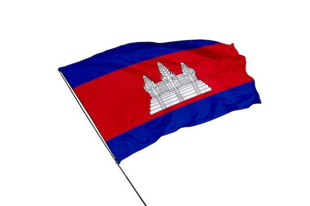 Bandera de camboya sobre un fondo blanco.